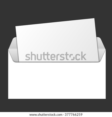Template for advertising and corporate identity.Open envelope with window. Blank mockup for design. Vector white object. Vector blank envelope with window, front and back view. Corporate identity. - stock vector