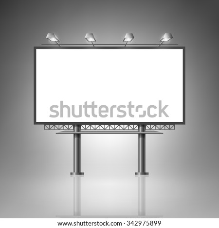 Template for advertising and corporate identity. Outdoor billboard with lighting. Blank mockup for design. Vector white object - stock vector