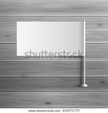 Template for advertising and corporate identity. Small flag on flagstaff. Blank mockup for design. Vector white object - stock vector