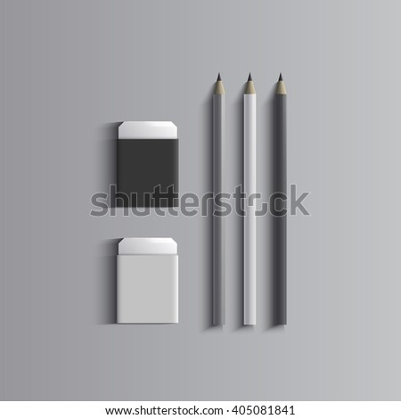 Template for advertising, branding and corporate identity.Pencils and erasers. Stationery mockup for design. Vector white object. EPS 10 - stock vector