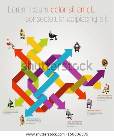 Template for advertising brochure with business people connected by arrows  - stock vector