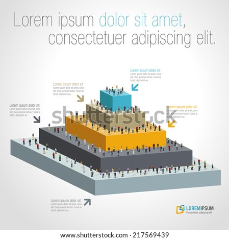 Template for advertising brochure with business people on pyramid - stock vector