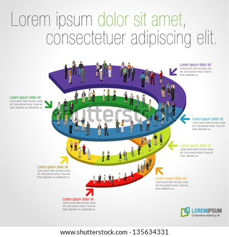 Template for advertising brochure with business people on spiral work flow - stock vector