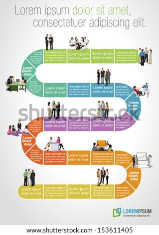 Template for advertising brochure with business people on work flow - stock vector