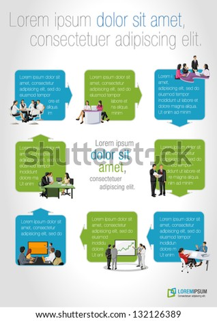 Template for advertising brochure with business people on work process - stock vector