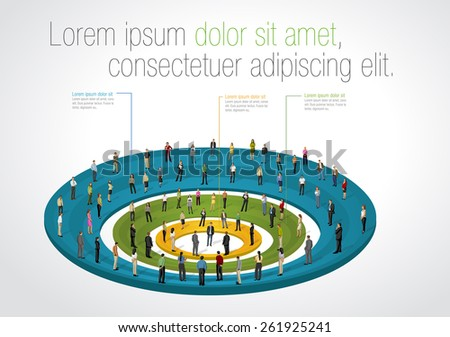 Template for advertising brochure with business people over chart - stock vector