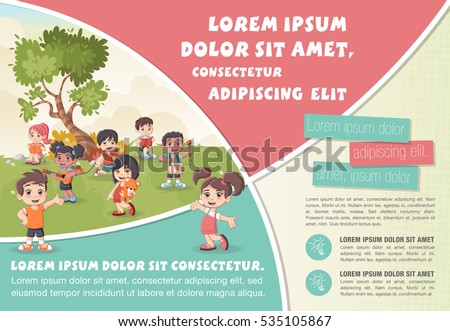 Template advertising brochure cute cartoon kids stock for Kids brochure template