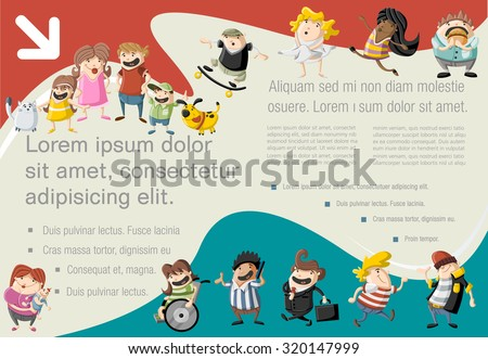 Template for advertising brochure with cute happy cartoon people - stock vector