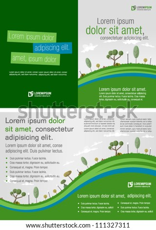 Template for advertising brochure with green park - stock vector