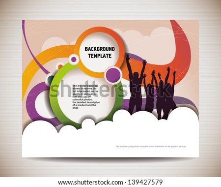 template for advertising brochure with people. banner with happy jumping people - stock vector