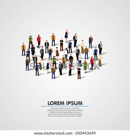 Template for advertising brochure with people crowd. Vector - stock vector