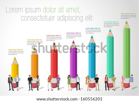 Template for advertising brochure with Teenager students in front of colored pencil chart - stock vector