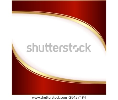 Template for an invitation, greeting card in dark red and gold. Use of global colors, linear gradients, blends, clipping masks. - stock vector