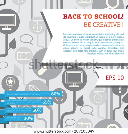 template for back to school banner, vector illustration