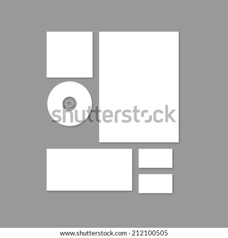 Template for branding and identity. Promoting and presentations corporate id design and visualization. elements: paper, a4 letterheads, cd, business card, envelope on gray background. vector - stock vector