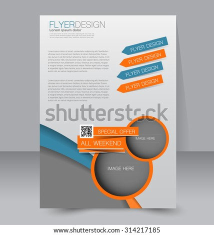 Template for brochure or flyer. Editable A4 poster for business, education, presentation, website, magazine cover. Orange and blue color. - stock vector