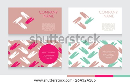 template for business cards with hand drawn elements and flourish pattern, can  be used for art classes, vector illustration - stock vector