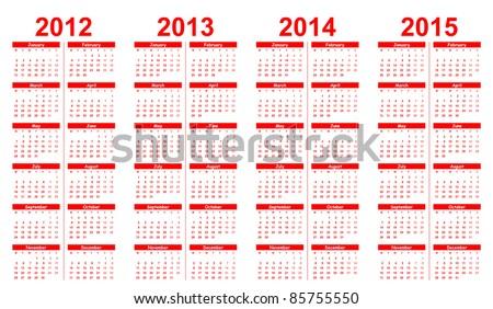 Template Calendar 20122015 Stock Vector 85755550 Shutterstock