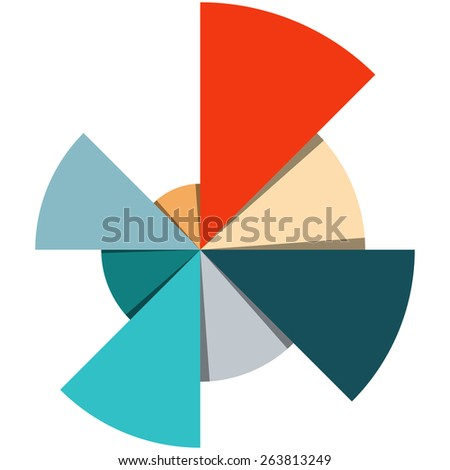 Template for creating infographics, consisting of segments of circles of different sizes and colors - stock vector