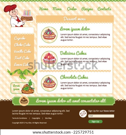 Template for dessert cafe web site - stock vector