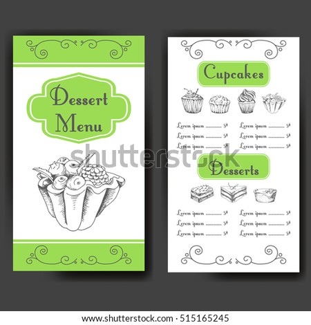 Template for dessert menu with sweet tasty cakes. Hand drawn design for poster, restaurant menu. Bakery sketch background