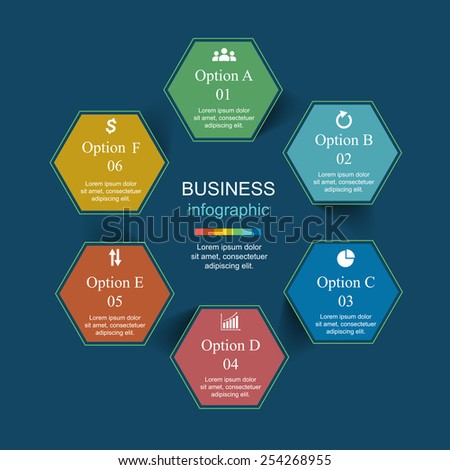 Template for diagram, graph, presentation and chart. Business concept with 6 options, parts, steps or processes. Vector infographic  - stock vector