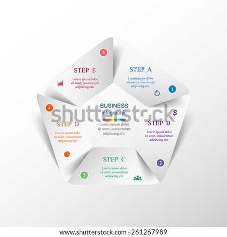 Template for diagram, graph, presentation and chart. Business concept with 5 options, parts, steps or processes. Vector infographic  - stock vector