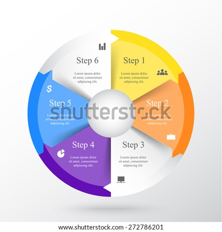 Template for diagram, graph, presentation and chart with 6 options, parts, steps or processes. Vector infographic  - stock vector