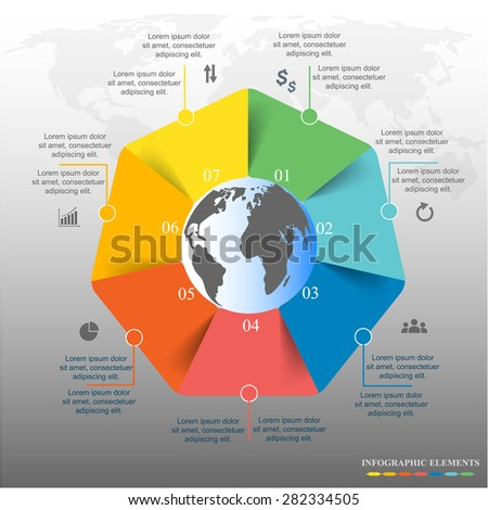 Template for diagram, graph, presentation and chart with 7 options, parts, steps or processes. Vector infographic  - stock vector