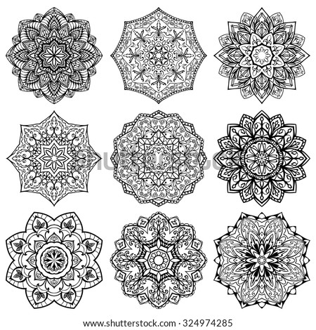 Template for embroidery. Set of mandalas. Collection of stylized stars and snowflakes. Vector round ethnic ornaments. Sketches for tattoo. Architectural decorative details. - stock vector