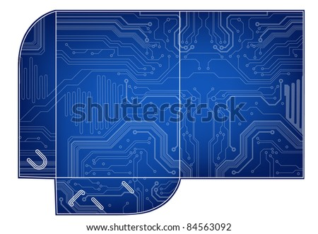 template for folder design with circuit draw - stock vector