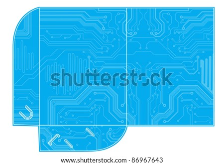 template for folder design with circuit style. vector illustration