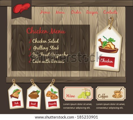 Template for food chicken menu - stock vector