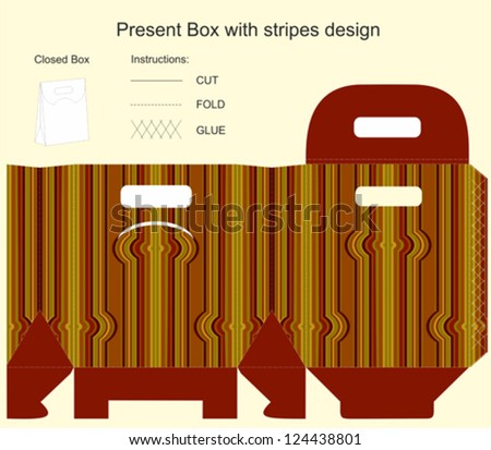 Template for gift box with stripes design - stock vector