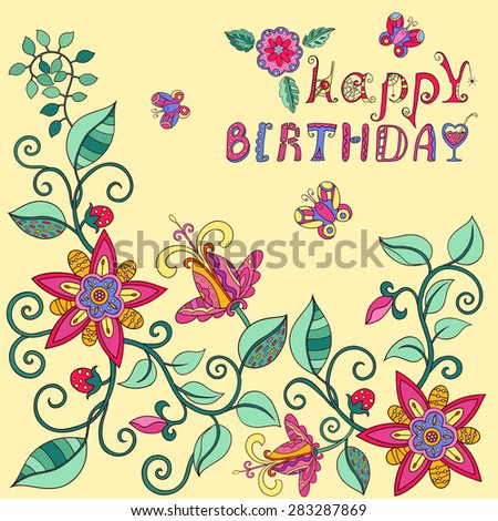 Template for greeting card birthday. Greeting card. Postcard with floral elements.