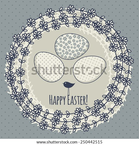 Template for greeting card or invitation. Eggs in the nest. Happy Easter! - stock vector