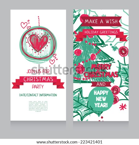 template for hand drawn xmas party invitation, vector illustration - stock vector