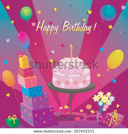 Template for Happy Birthday card with cake and balloon - stock vector