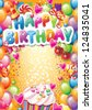 Template for Happy birthday card with place for text - stock photo