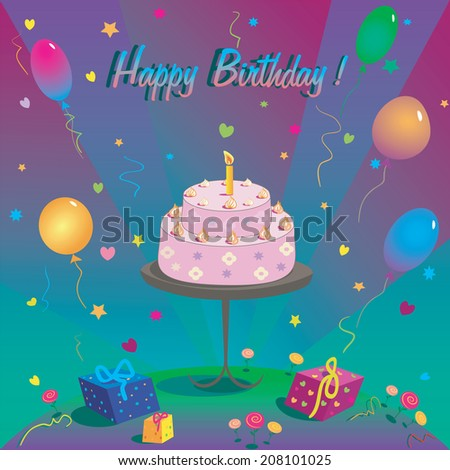Template for Happy birthday card with place for text. Illustration of cake and balloon - stock vector