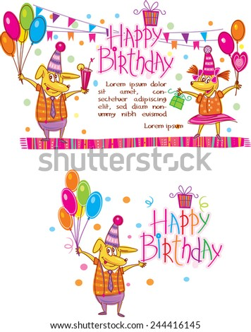 Template for Happy birthday cards  - stock vector