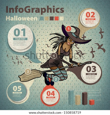 Template for infographic for Halloween and witch in vintage style - stock vector
