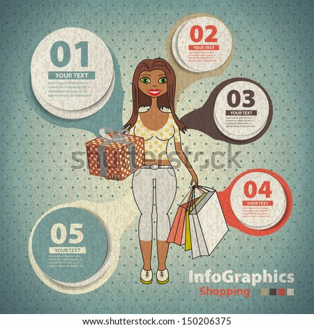 Template for infographic on shopping in vintage style - stock vector