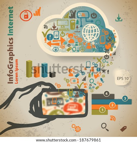 Template for infographic with content in the cloud in vintage style - stock vector