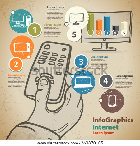 Template for infographic with hand with remote control and Smart TV in vintage style - stock vector