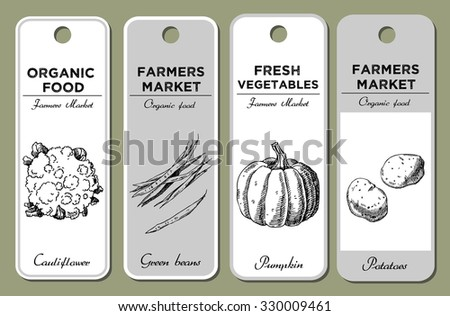 Template for label design with hand drawn vegetables. Cauliflower, green beans, potatoes, pumpkin. For vegan products, brochures, banner, restaurant menus, farmers market and packaging of organic food - stock vector