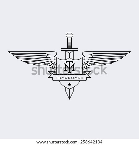 Template logos labels emblems outline style stock vector 258642134 template for logos labels and emblems in outline style with wings sword and shield pronofoot35fo Image collections
