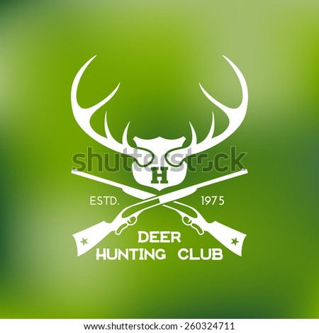 Template for logos, labels and emblems with two rifles, shield and horns. Vector illustration. - stock vector