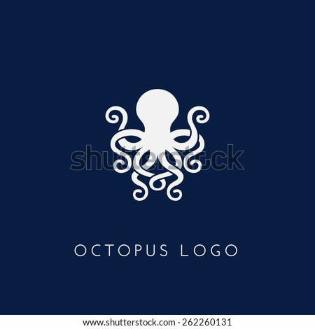 Template for logos, labels and emblems with white silhouette of octopus. Vector illustration. - stock vector