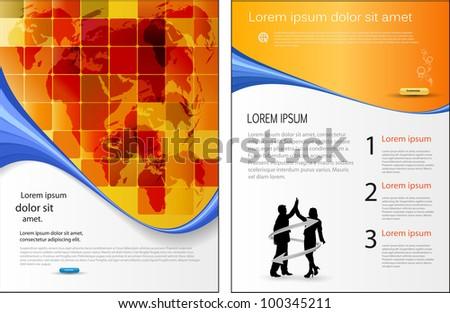 Template for marketing brochure with business people - stock vector